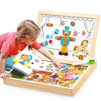 wooden magnetic puzzle board games double sided drawing writing board blackboard doodle motessori learning educational toys