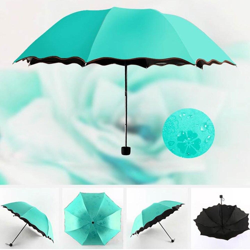 Sombrilla plegable de viaje, a prueba de viento y lluvia, sombrilla plegable Anti-UV, sombrilla pequeña de bolsillo, sombrilla plana ligera