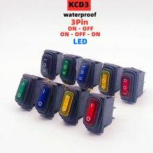 KCD3 étanche interrupteur à bascule ON-OFF/ON-OFF-ON 3Pin équipement électrique avec éclairage interrupteur de LED dalimentation 15A 250VAC/20A 125VAC