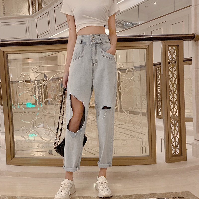 2021new High Waist Wash Ripped Jeans Women's Fashionable Ins Slimming High-Looking Loose Straight Cr