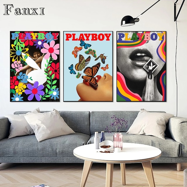 Fashion Canvas Painting Poster Wall Art Print Vogue Magazine Playboy Small Flowers Butterflies Red Lips Home Rooms Wall Decorati 6