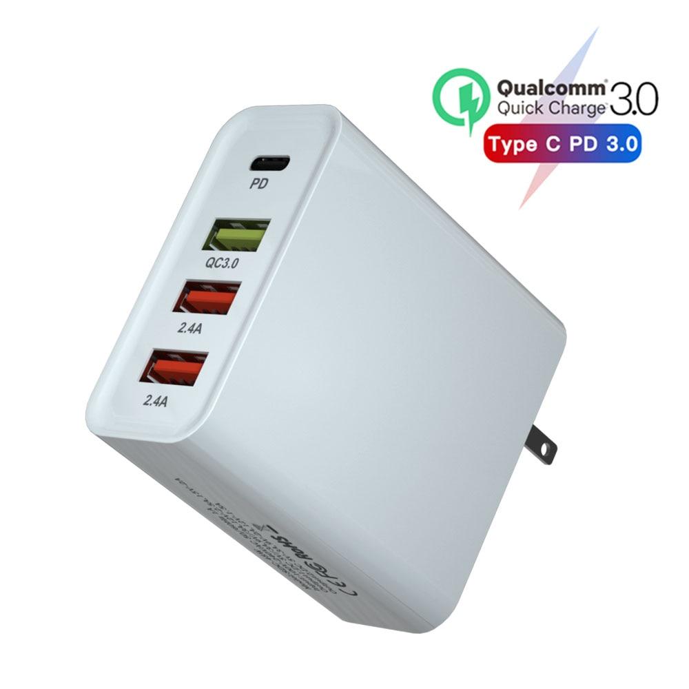 Cargador USB de carga rápida 65W PD, cargador para Tablet EU US, enchufe adaptador de pared/cargador de teléfono móvil 3A, cargador QC 3,0, carga rápida