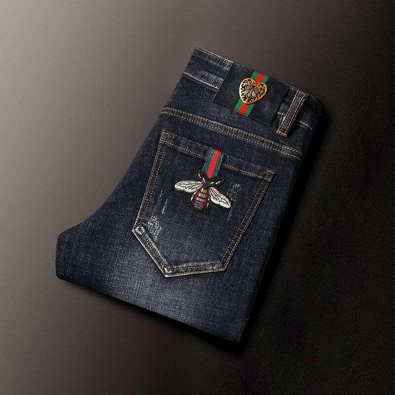 2021 new embroidered slim fit men's small feet stretch denim long pants