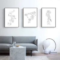 black and white art print abstract mechanical model line drawing posters prints minimalist pictures for boys living room decor