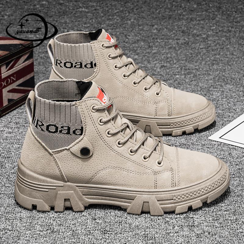 Sapatos de Salto Dedo do pé Calçado de Trabalho com Ferramentas Homens Chelsea Botas Outono Inverno Masculino Tornozelo Plano Redondo Laço-up Cores Misturadas Hy50 39-44