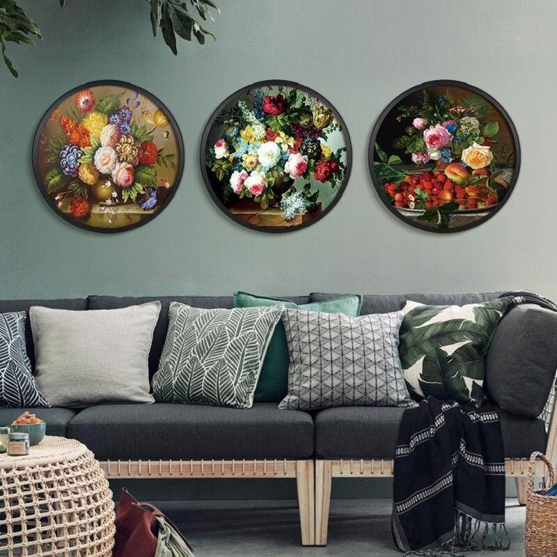 Estilo chinês Impressões HD Garrafa Pintura Da Lona Flores Rodada Cartaz Arte Da Parede Pictures Para Sala de estar Moderna Decoração Da Casa Modular