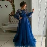 vintage long sleeve a line evening dresses 2020 applique robe de soiree dubai custom made formal elegant prom gowns dress