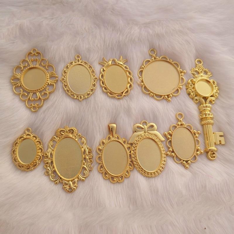 Vintage Round Bezel Tray Oval Charm Cameo Base Cabochon Bezel Setting Kawaii Jewellery Making Jewelry Findings Jewelry Bezels