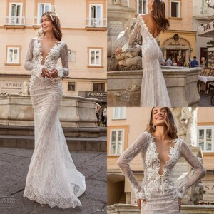 Sexy Mermaid Wedding Dresses Deep V Neck Sweep Train 2020 Lace Applique Beach Wedding Gowns Long Sleeve Vestidos De Novia