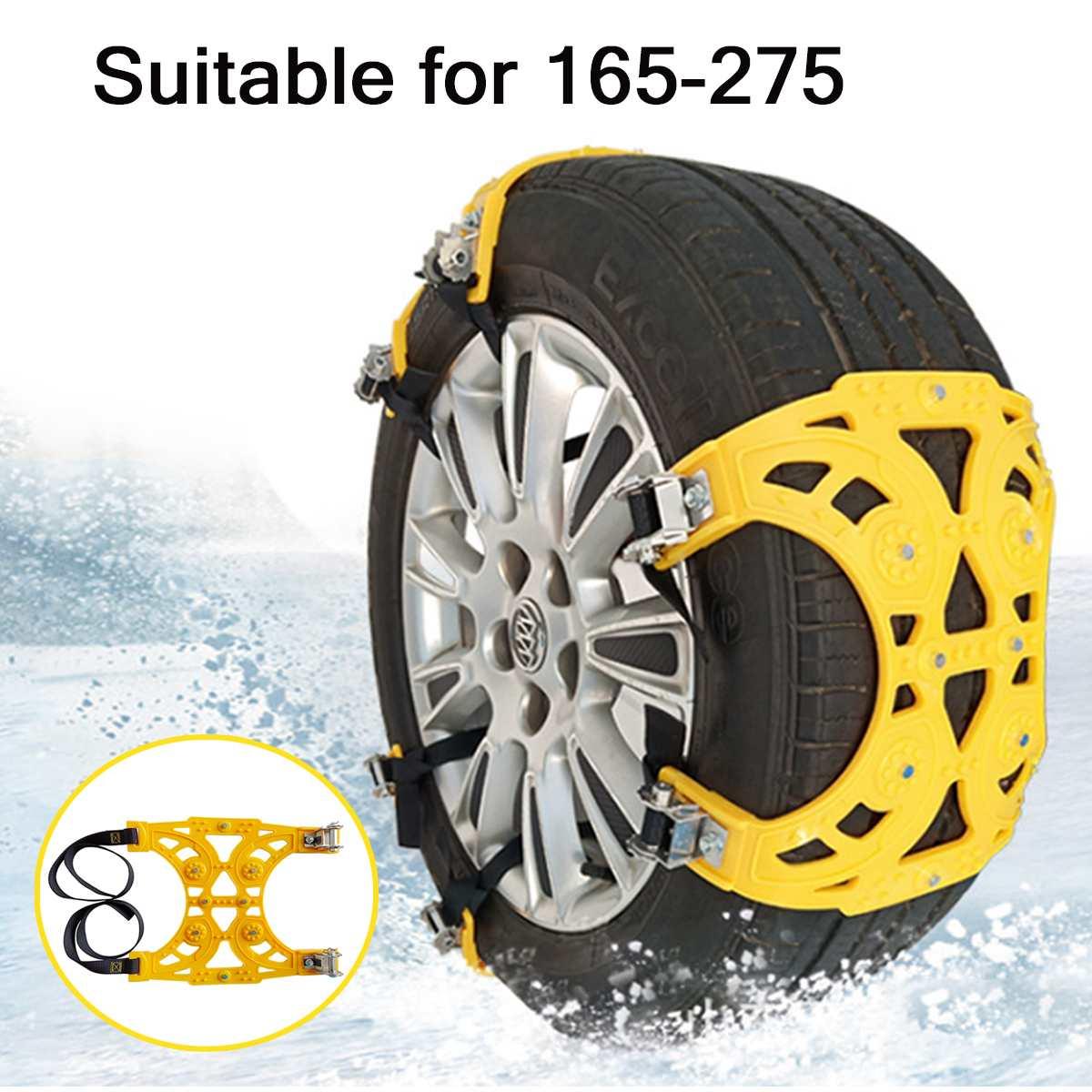 Cadenas de nieve para neumáticos de automóviles 1x 2x 6x neumáticos antideslizantes cadenas para ruedas cadena ajustable de seguridad PU invierno uso camión Van ATV