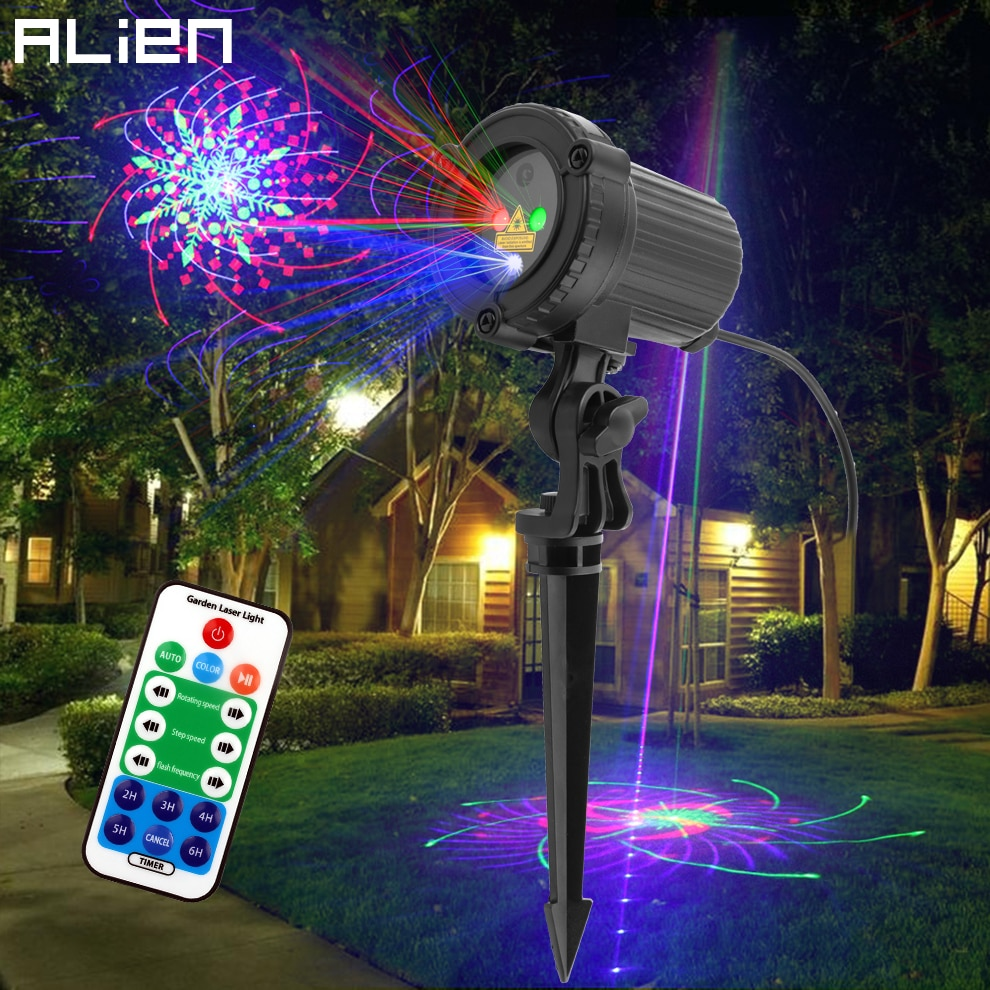ALIEN RGB 32 Patterns Christmas Laser Projector Outdoor Light Remote Garden Waterproof IP65 Holiday Xmas Outside Shower Lighting
