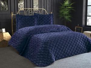 Lima Velvet Filled Double Bedspread Navy Blue
