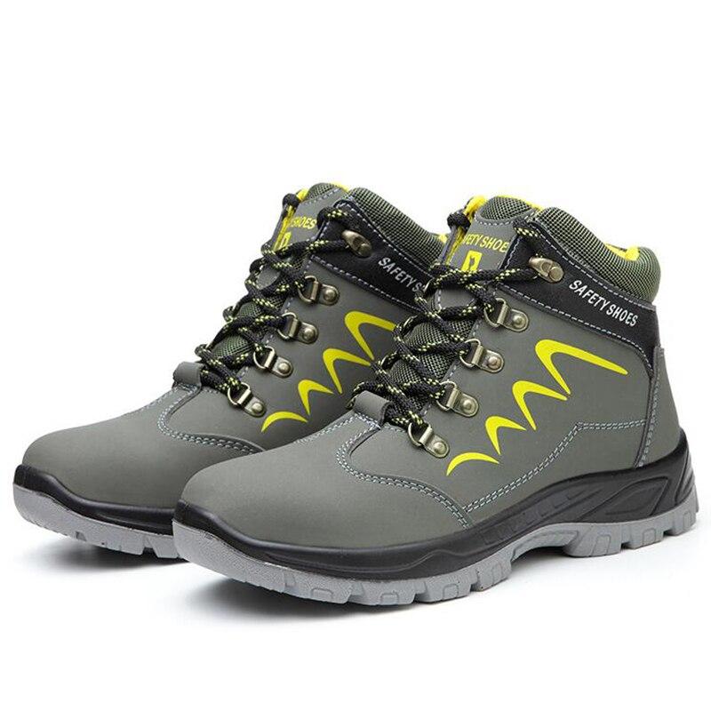 Nuevas botas de seguridad para hombres de gran tamaño, botas de seguridad para el trabajo, zapatos de cuero de vaca para trabajadores de construcción, botas de seguridad para tobillo, hombre