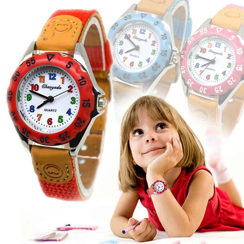 Newly Cute Boys Girls Quartz Watch Kids Children's Fabric Strap Student Time Clock Wristwatch Gifts