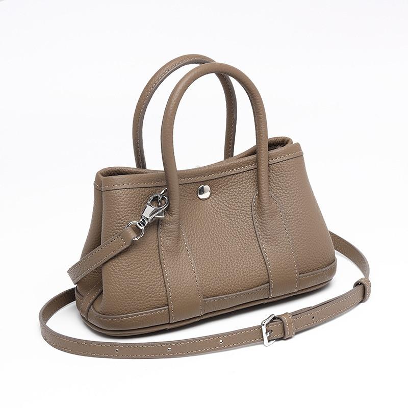 Genuine leather bag 2021 new style 25 cm leather mini handbag lady bag large capacity bucket bag sin