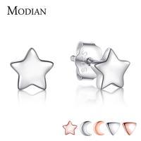 Женские Треугольные Серьги-гвоздики Modian, 6 видов, из настоящего серебра 925 пробы