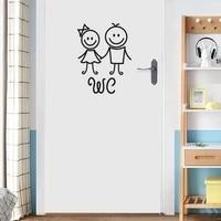 Autocollants muraux en PVC  decoration de porte de WC  dessin anime  pour salle de bains  hommes et femmes  Stickers muraux creatifs  affiche murale en vinyle amovible