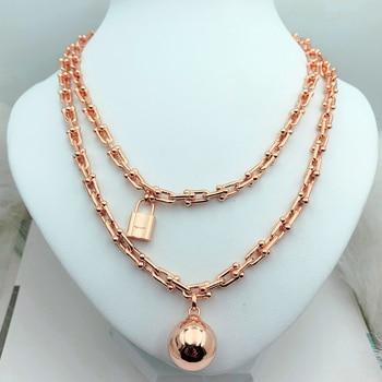 Hot Trendy HighQualityS925 Sterling Silver Ball&Lock U-Shaped NecklaceWomen Logo 1:1 Original Brand Jewelry Valentines Gift