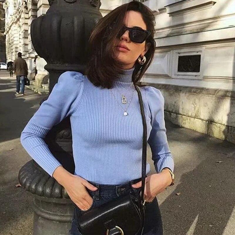 Feminino casual sólido manga longa puff malha tops 2019 primavera-outono moda azul gola alta camisola preto pulôver
