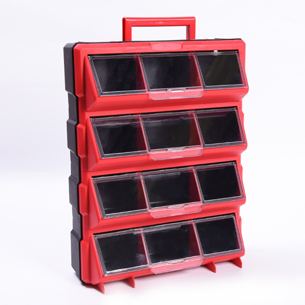 new 12 bins storage cabinet tool box chest case plastic organizer toolbox bin Plastic Parts Storage Hardware Grid Craft Cabinet Tool Case Drawer 12 Bins Storage Tool Case Electronic Component Case