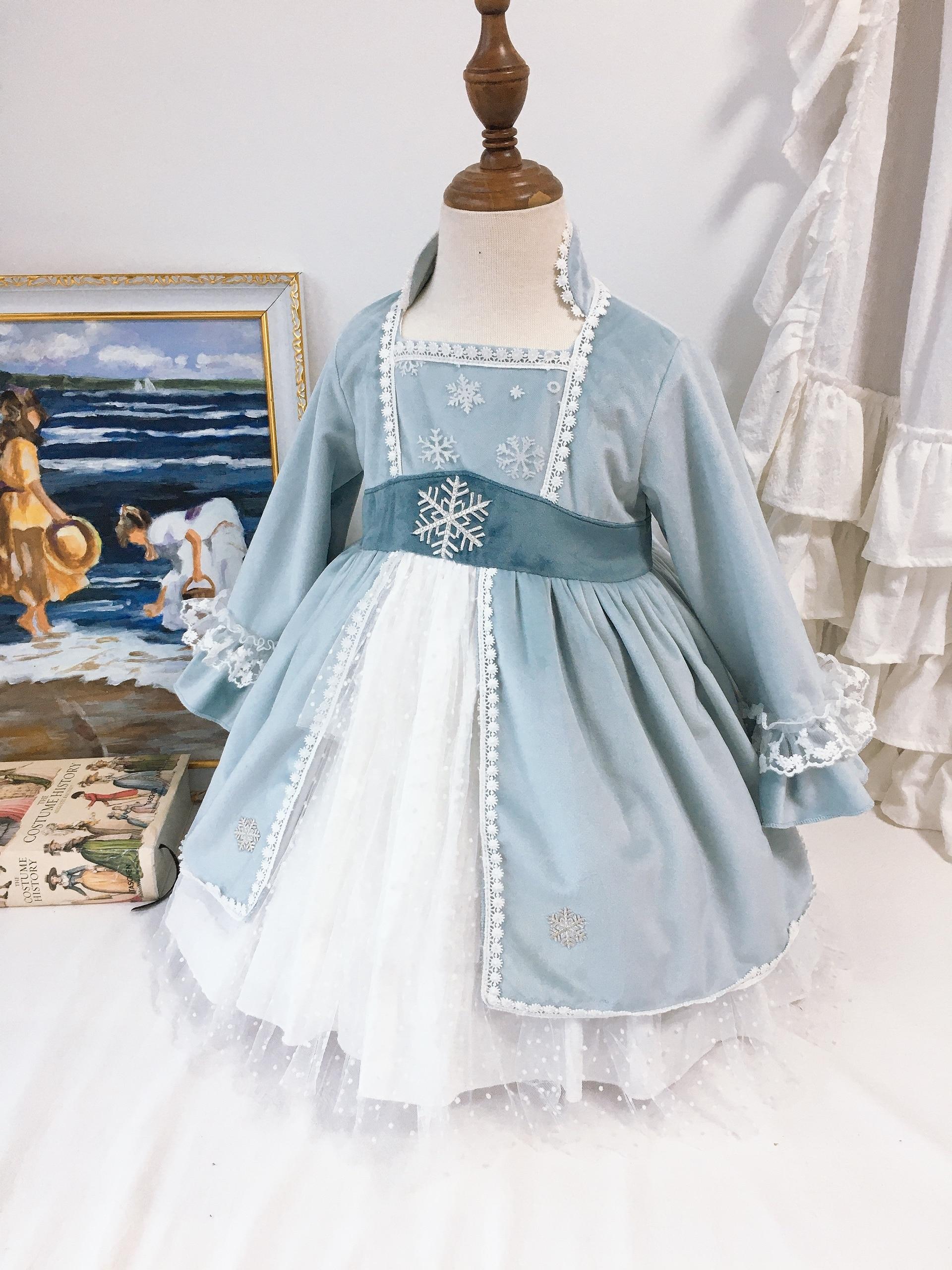 طفلة الخريف الشتاء الضوء الأزرق الثلوج المخملية طويلة الأكمام لوليتا الأميرة الكرة ثوب فستان لفتاة عيد الميلاد عادية