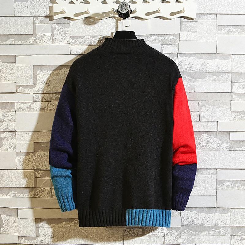 Turtleneck Sweater Men Clothing New Winter Plus Size Sweater Men Patchwork Elasticity Pullover Sweater Men