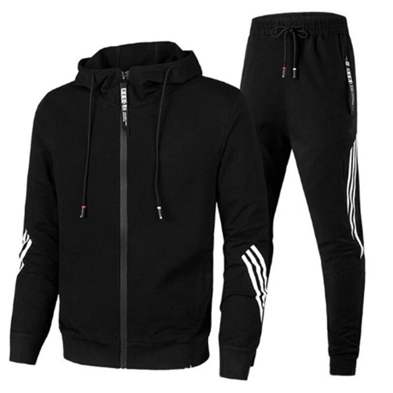 Men's sportswear casual 2-piece zipper sweater hoodie + sweatpants sportswear men's solid color jogg