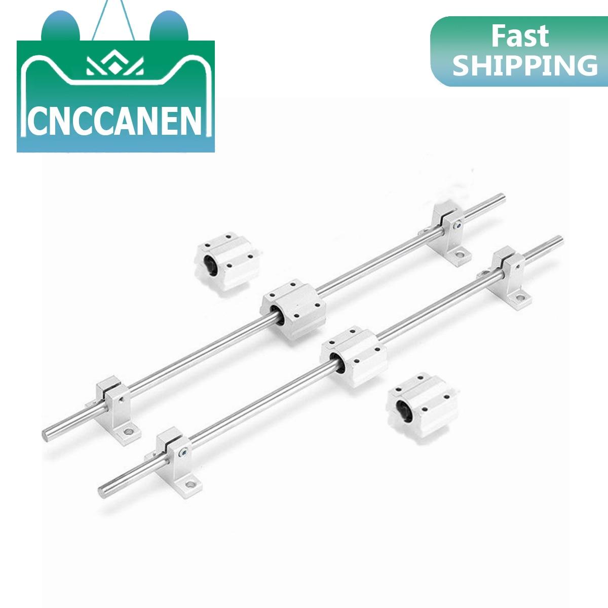 10 unids/set eje óptico eje lineal OD8/10/12mm 400-600mm + SCS8/10/12UU bloques de rodamiento lineal + SK8/10/12 soporte de rodamiento