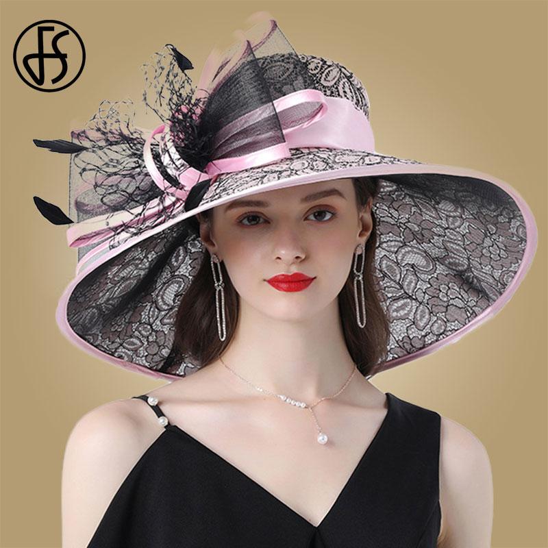 FS Pink Wide Brim Hats Kentucky Derby Hat For Women Elegant Church Purpe Hats Big Feather Fedora Ladies Wedding Tea Party Fedora
