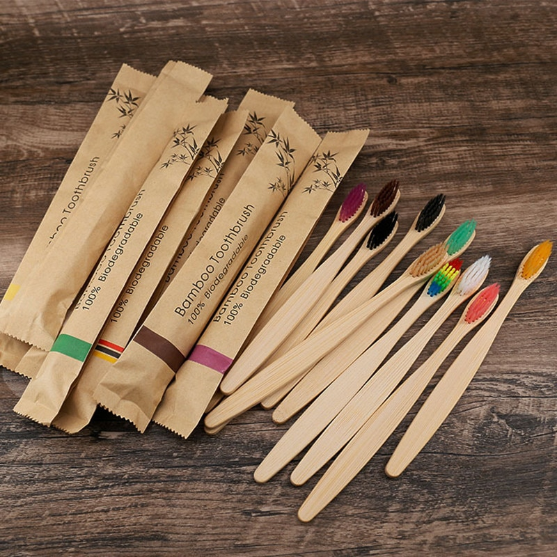 5/10pcs eco friendly toothbrush Bamboo Resuable Toothbrushes Portable   Wooden Soft Tooth Brush for Home Travel Hotel use