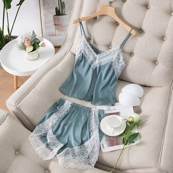 Women's Pajamas Summer Ice Sexy Suspender Shorts Two-Piece Korean-Style Student Lace Silk Vest Homewear Suit