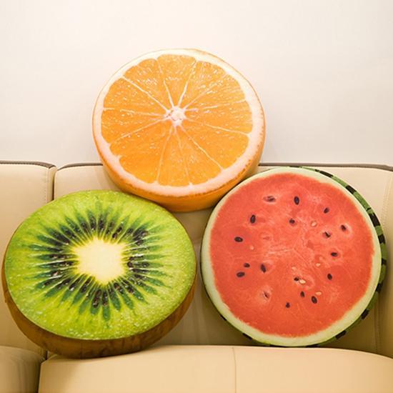 Suave almohada cojín de peluche redondo naranja Kiwi fruta juguetes fruta asiento cojín cómodo silla cojín