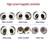spring loaded dc magnetic pogo pin connector 2 3 4 5 pin pitch 13 5 mm through hole male female anti reverse power charge probe