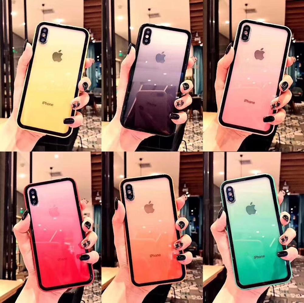 حافظة واقية من الأكريليك TPU لهاتف iPhone ، متدرجة اللون ، شفافة ، بألوان قوس قزح ، لـ 12 mini 11 Pro Max SE2 X XR XS Max 8 7 6S Plus ، 100 قطعة