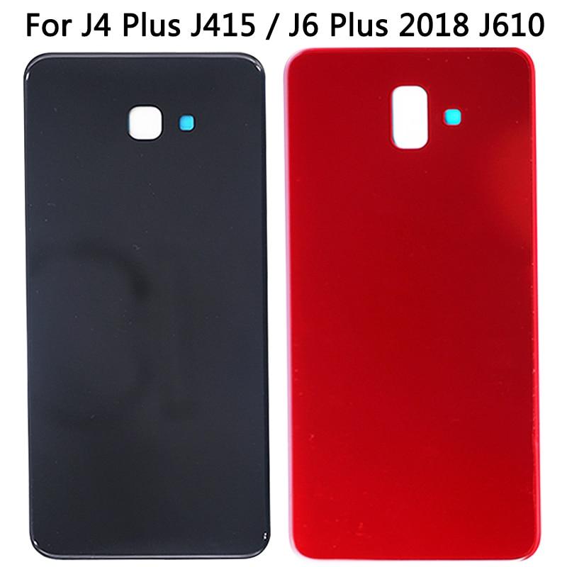 Para Samsung Galaxy J4 Plus J415 / J6 Plus 2018 J610 batería cubierta trasera de cristal nuevo J4 Plus carcasa trasera