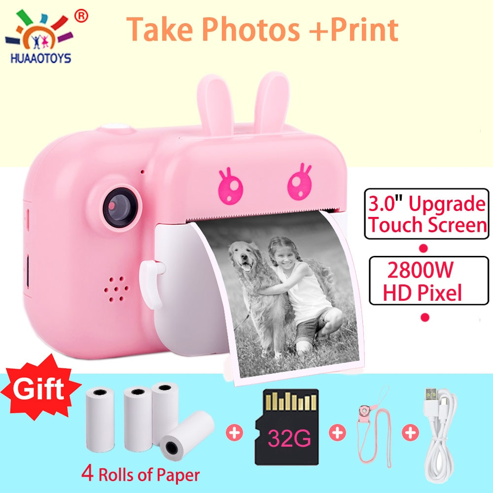 Children Camera Instant Print Camera For Kids 1080P HD Camera With Thermal Photo Paper Toys Camera For Birthday Gifts