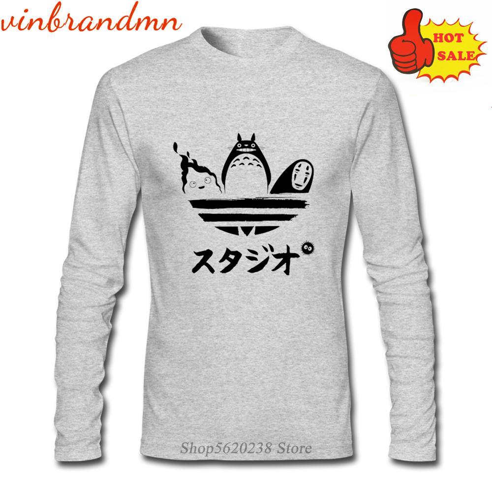 Totoro Studio Ghibli herren Langarm T Shirts Japanischen Anime Geist Weg Gedruckt T-Shirts Miyazaki Hayao Cartoon T-shirts