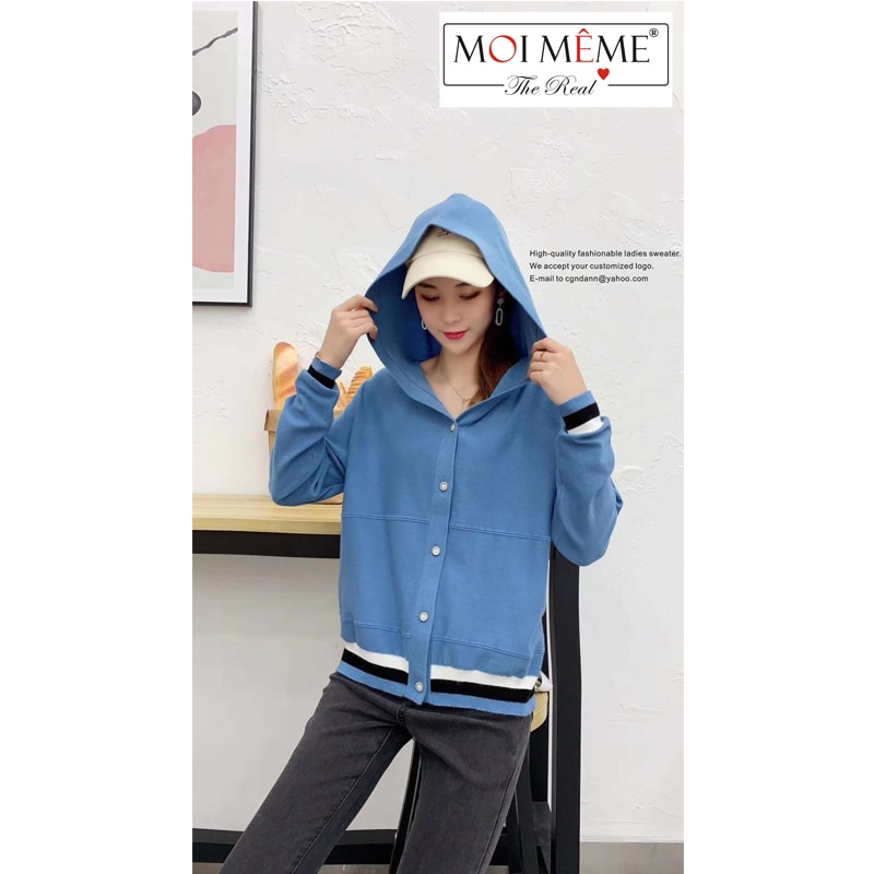 Ladies hooded knitted cardigan fashion all-match sweater cardigan college casual knitted cardigan warm wool cardigan women enlarge