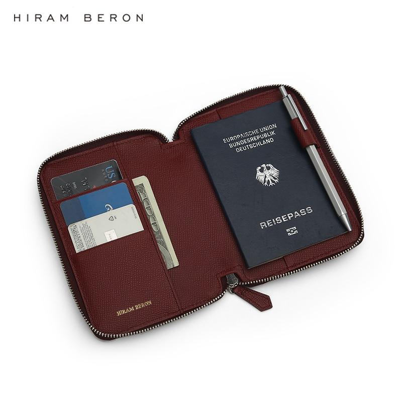 Hiram Beron Free Custom Name Italian Genuine Leather Passport Holder Travel Wallet Anti RFID 2 Slots Passpor 6 Colors Dropship