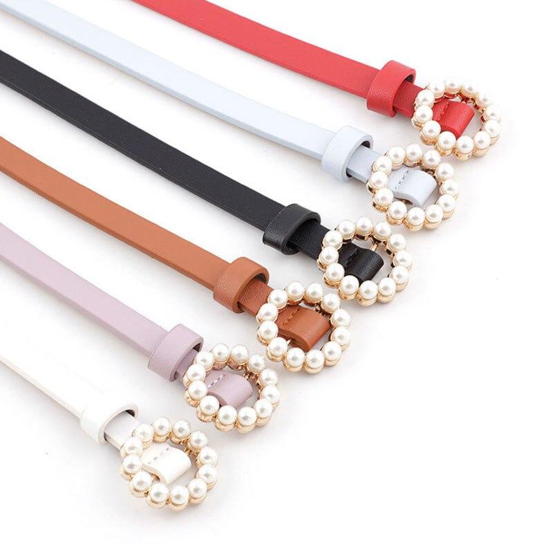 ¡Moda 2020! Bonito cinturón con cuentas de perlas para mujer, negro, blanco, rojo, marrón, azul, cintura fina de cuero para mujer, vestido