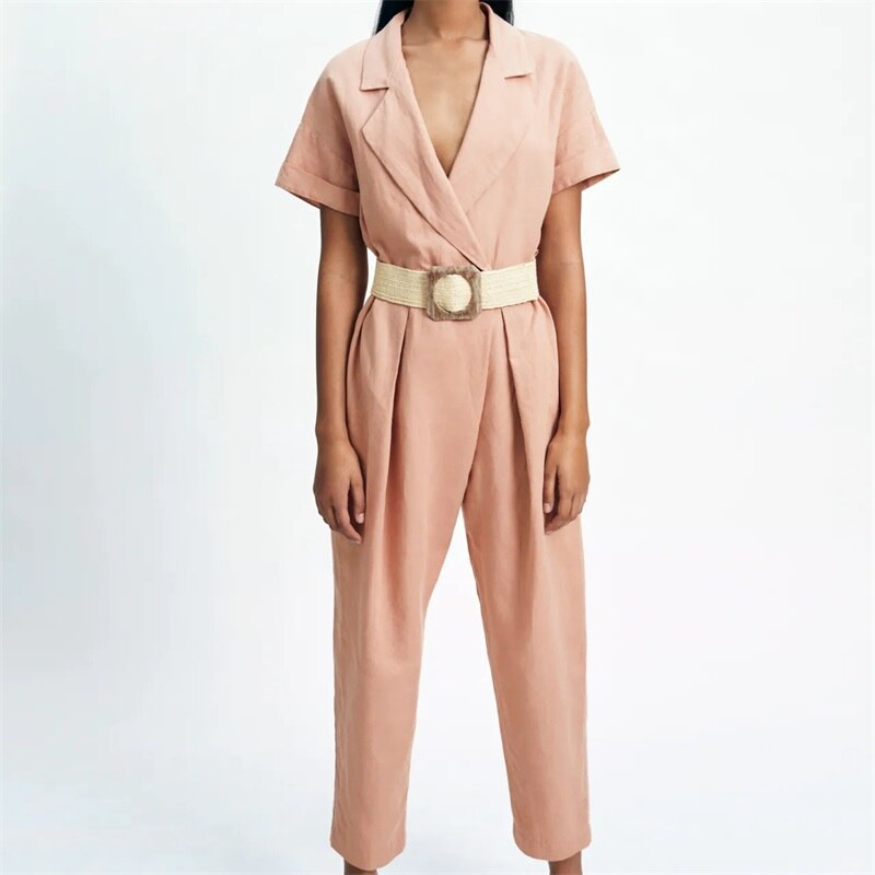 TRAF النساء 2021 الموضة مع حزام جيوب جانبية بلون بذلة الرجعية الخامس الرقبة قصيرة الأكمام بذلة الشارع الشهير