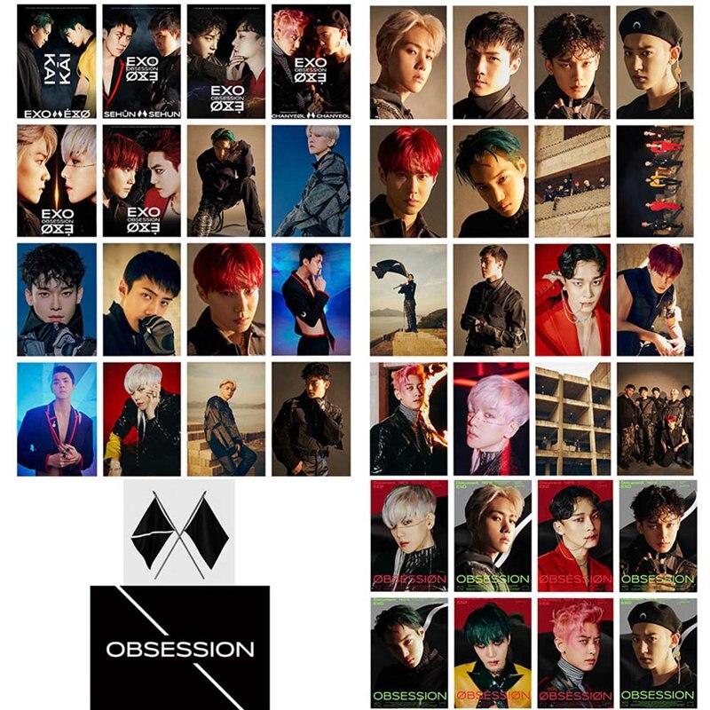 16 unids/set KPOP EXO 6th álbum obsesión tarjeta Lomo tarjeta foto tarjeta Poster Photocard Fans regalo colección Set de papelería