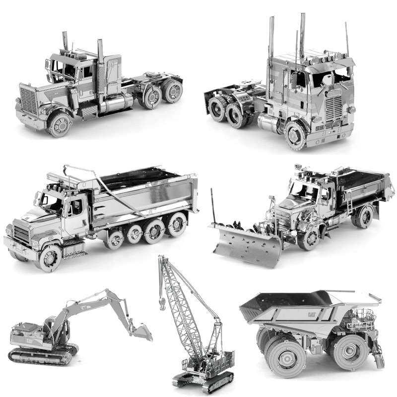 3D Metal Puzzle Engineering vehicle Excavator Crawler Crane COE Truck model KITS Assemble Jigsaw Puzzle Gift Toys For Children assemble ph35005 1 35 russia 279 engineering nuclear tank blocks kits