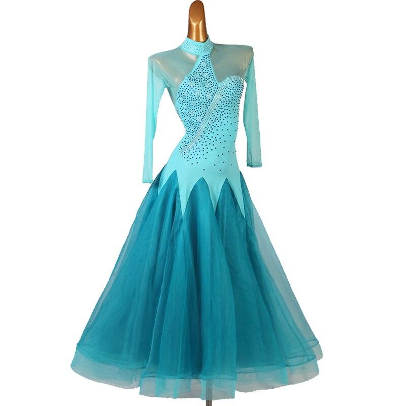 Vestido de Salón Estándar de manga larga, vestidos largos de salón para mujer, vestido de baile de vals para mujer, vestido de competición de baile mq213 blu