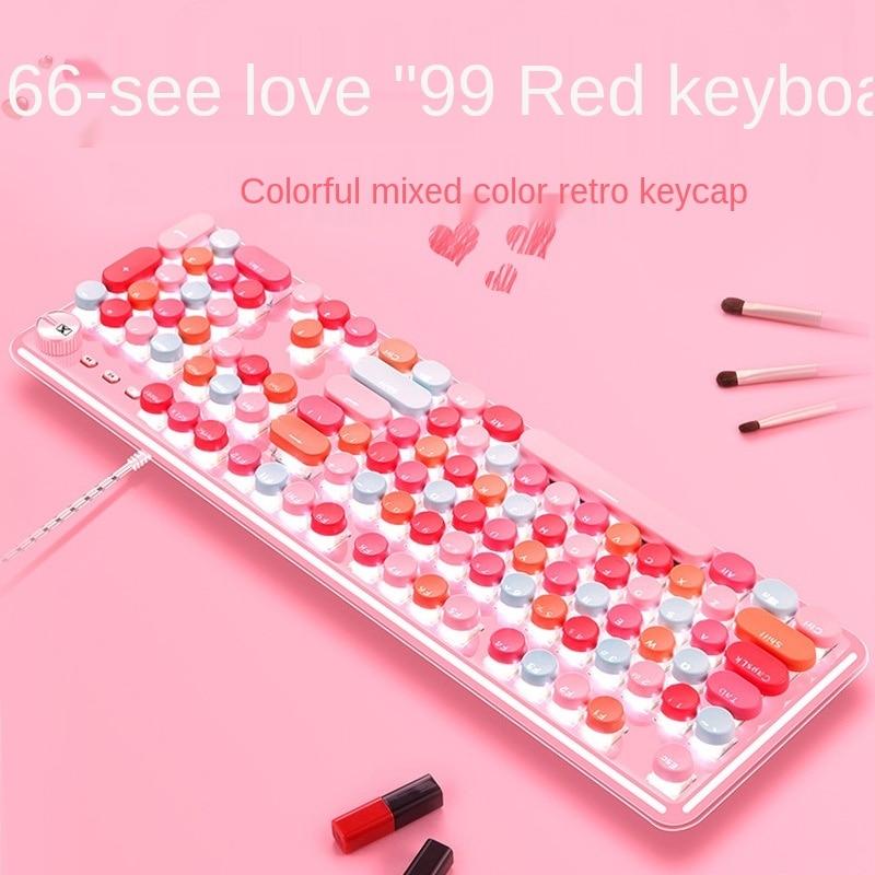 K520 pink mechanical keyboard wired green axis girl heart girl lipstick macaron dot computer cross-border