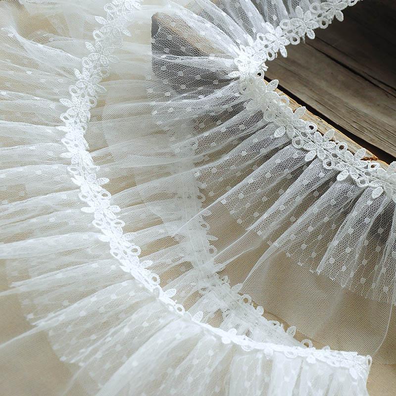 4 yardas Polka Dot lace Trim 2 capas de encaje Trim de encaje Floral trim vestido de boda de velo ropa dobladillo cortina