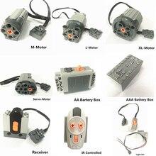 Lepining Multi Function Technic Motor Power Battery Box Switch LED Light Servo Motor Receiver City Train Set Bricks