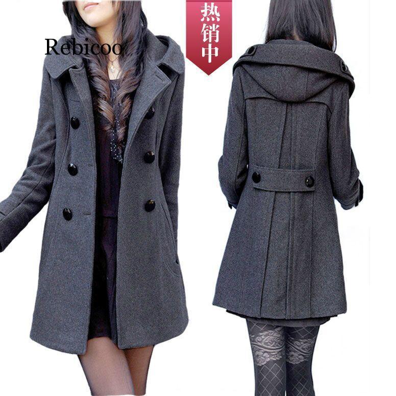 الصوفية سترة المرأة الخريف والشتاء نمط جديد مزدوجة الصدر معطف الكورية نمط منتصف طول سليم صالح مقنع