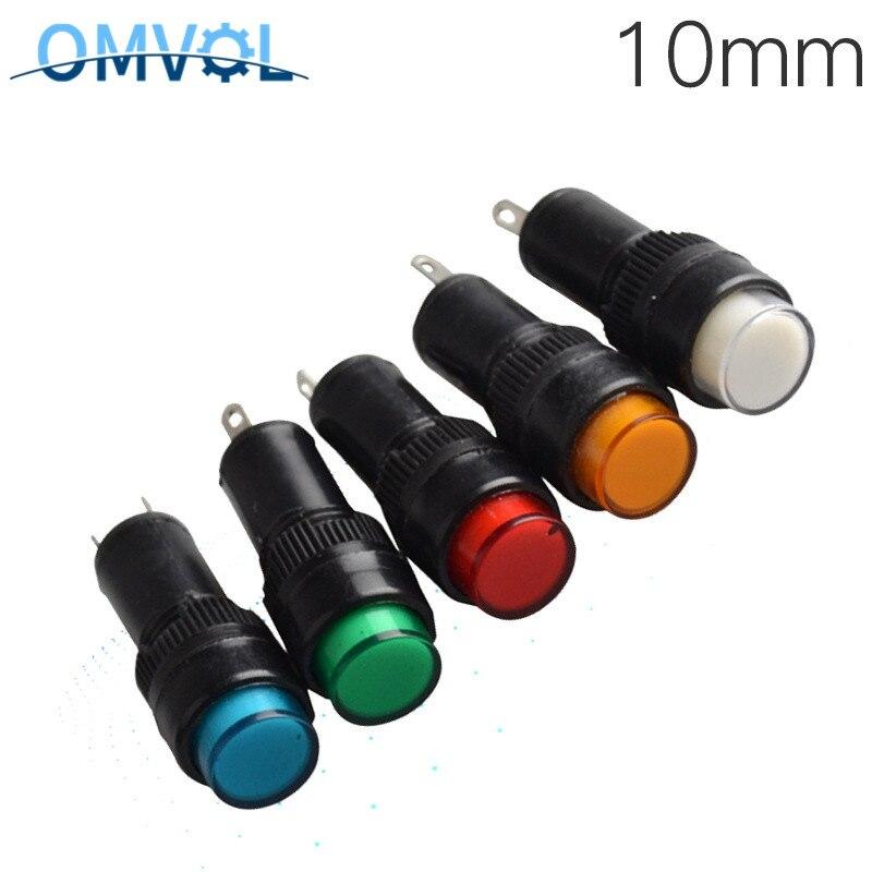 5 uds. 10mm luz piloto indicadora DC12V DC24V AC220V Panel montado lámpara para señal de piloto NXD-211 potencia