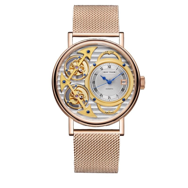 ريف النمر العلامة التجارية الساعات الموضة الصلب رقيقة جدا الساعات الرجال الهيكل العظمي ساعة ميكانيكية RGA1995 (عدم التحرك توربيون مزدوجة)